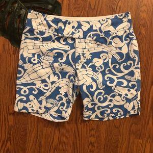 Lilly Pulitzer Blue & White Gabby Gator Shorts 8